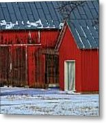The Old Red Barn In Winter Metal Print