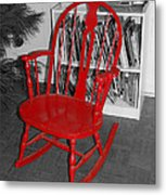 The Old Red Rocking Chair Metal Print