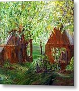 The Old Swing Between The House And The Barn Metal Print