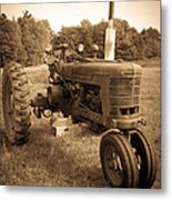 The Old Tractor Sepia Metal Print