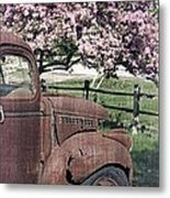 The Old Truck And The Crab Apple Metal Print