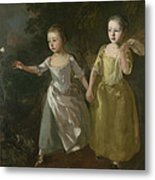 The Painter's Daughters Chasing A Butterfly Metal Print