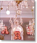 The Paris Market - Savannah Georgia Paris Market - Paris Market Shoppe - Paris Brocante Chandeliers Metal Print by Kathy Fornal