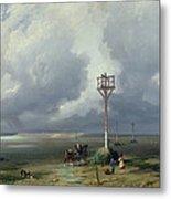 The Passage Du Gois At Noirmoutier, 1859 Oil On Canvas Metal Print