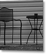 The Patio Chairs In Black And White Metal Print