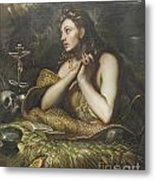 The Penitent Magdalene By Domenico Tintoretto Metal Print