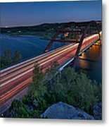 The Pennybacker Bridge At Twilight Metal Print