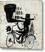The Picture Shows A Man Who Rides A Metal Print