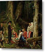 The Pilgrims From The Abbey Of St. Odile Oil On Canvas Metal Print
