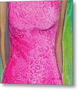 The Pink Dress Metal Print