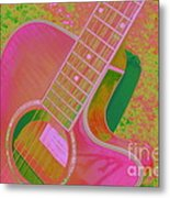 My Pink Guitar Pop Art Metal Print