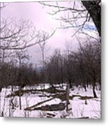 The Pink Winter Light On The Mountain Top Metal Print