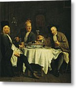 The Poet Alexis Piron 1689-1773 At The Table With His Friends, Jean Joseph Vade 1720-57 And Charles Metal Print