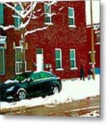 The Point Pointe St Charles Snowy Walk Past Red Brick House Winter City Scene Carole Spandau Metal Print