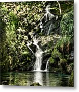 The Pond And The Forest Waterfall Metal Print
