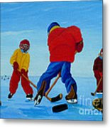 The Pond Hockey Game Metal Print