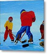 The Pond Hockey Game Metal Print