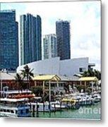 The Port Of Miami At Bayside Metal Print