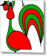 The Portoguise Rooster son of Santa Claus wishes you a Happy Chrismas Metal Print