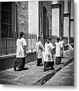 The Procession - Black And White Metal Print