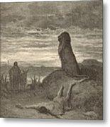 The Prophet Slain By A Lion Metal Print by Antique Engravings