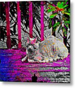 The Psychedelic Cat Metal Print
