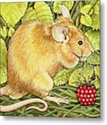 The Raspberry Mouse Metal Print