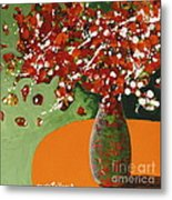 The Red And Green Vase Metal Print
