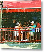 The Red Awning Cafe On St. Denis - A Shady Spot To Enjoy A Cold Beer On A Very Hot Sunday In July Metal Print