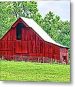 The Red Barn - Featured In Old Buildings And Ruins Group Metal Print