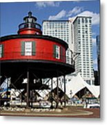 The Red Beacon From Baltimore Harbor Metal Print