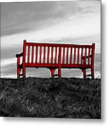 The Red Bench Metal Print