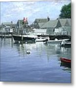 The Red Boat  Nantucket Harbor Metal Print