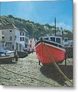 The Red Boat Polperro Corwall Metal Print