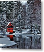 The Red Boathouse - Old Forge Ny Metal Print