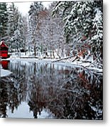 Red Boathouse On Beaver Brook Metal Print