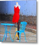 The Red Dress Lunch Special Metal Print