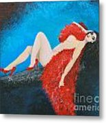 The Red Feather Boa Metal Print