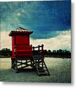 The Red Lifeguard Shack Metal Print