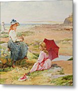 The Red Parasol Metal Print by Alfred Glendening Jr