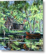 The Red Pirogue Metal Print