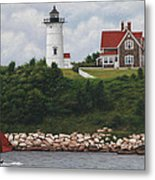 The Red Sail  Nobska Lighthouse Cape Cod Metal Print