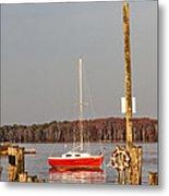 The Red Sailboat Metal Print