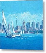 The Regatta Sydney Habour By Jan Matson Metal Print