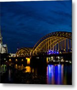 The Rhine Rail Bridge And Cathedral Of Cologne Metal Print