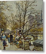 The Rive Gauche Paris With Notre Dame Beyond Metal Print