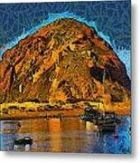 The Rock At Morro Bay Abstract Metal Print