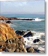The Rocky Coastline Meets The Ocean Metal Print