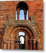 The Romanesque Doorway In The Monastery Metal Print