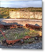 The Ruins Of A Ww2 Cannon And Bunkers Metal Print